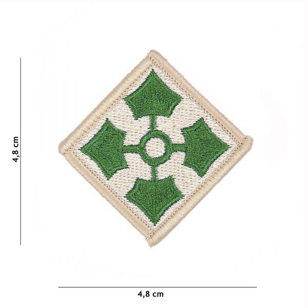 , Embleem stof 4th US Infantry Division #4077, deDump.nl