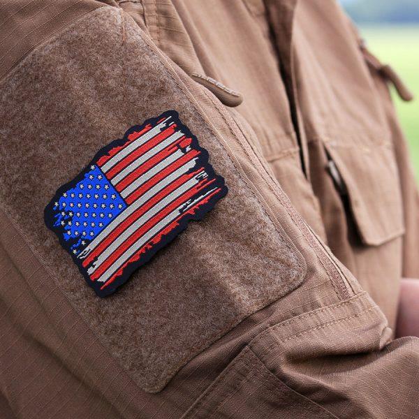 , Fostex Embleem stof fijn geweven vlag USA vintage #7136, deDump.nl