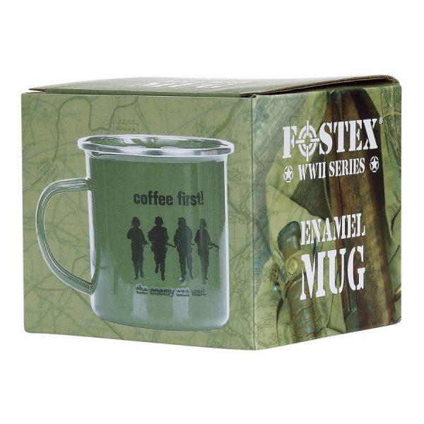 , Fostex Emaille mok Coffee First!, deDump.nl