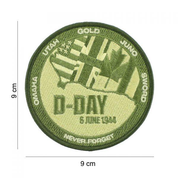 , Embleem stof D-Day Never forget groen #19082, deDump.nl
