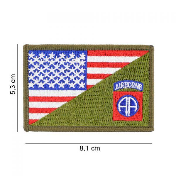 , Embleem stof 82nd Airborne halve vlag #20012, deDump.nl