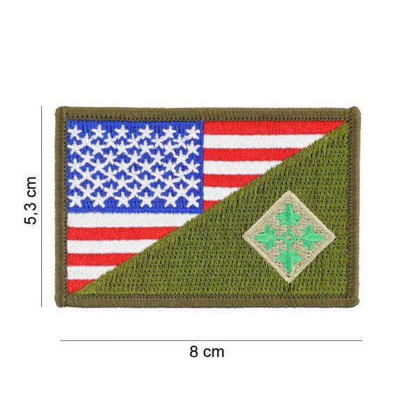 , Embleem stof 4th Infantry halve vlag #20016, deDump.nl