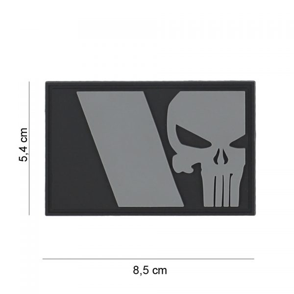 , Embleem 3D PVC Punisher Franse vlag grijs #8085, deDump.nl