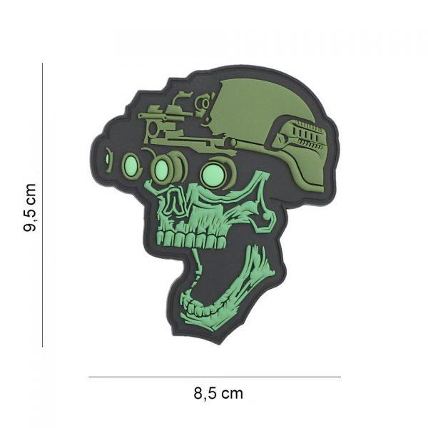 , Embleem 3D PVC Night vision skull groen #19043, deDump.nl