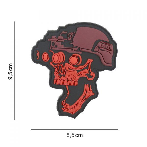 , Embleem 3D PVC Night vision skull rood #19044, deDump.nl