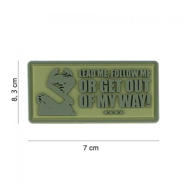 , Embleem 3D PVC Lead me, follow me groen #8070, deDump.nl