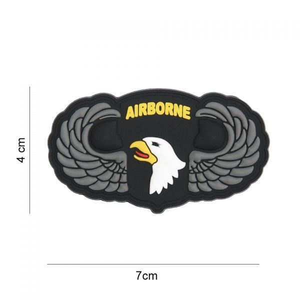 , Embleem 3D PVC 101st Airborne zilveren wings #8078, deDump.nl